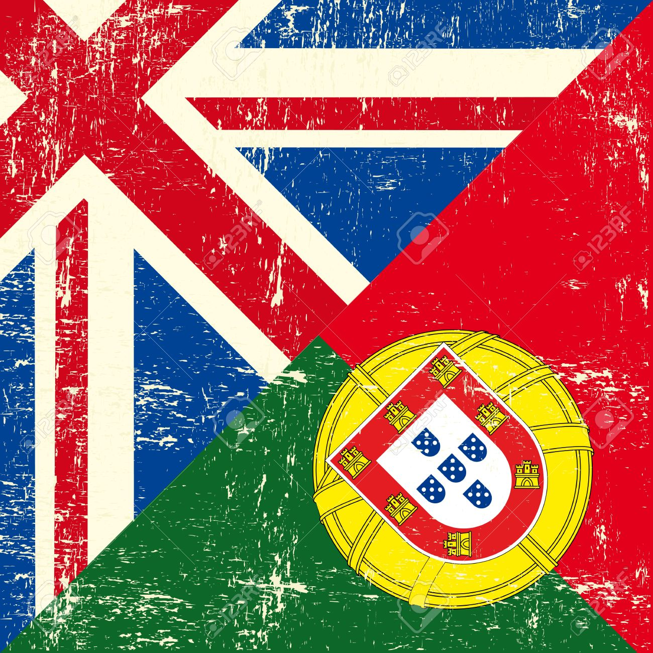 Brexit flag with Portugal and UK
